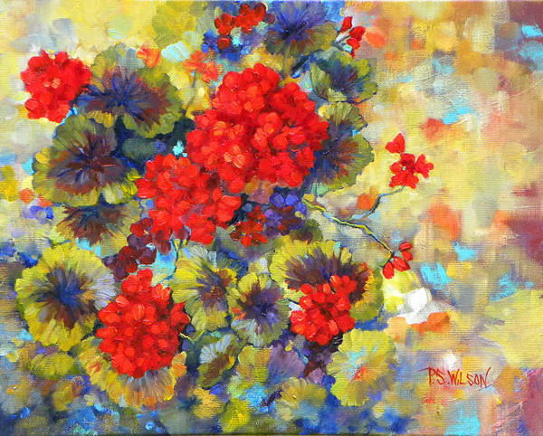 Geraniums Art Print featuring the painting Red Geraniums II by Peggy Wilson