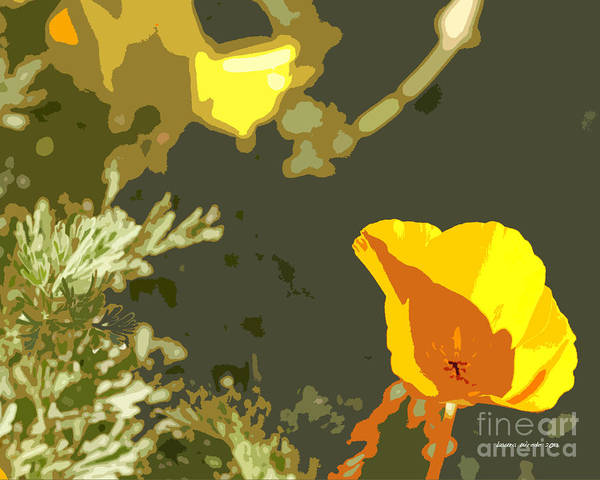 Abstract California Poppies Photographs Canvas Prints Art Print featuring the photograph Retro Abstract Poppies 4 by Artist and Photographer Laura Wrede