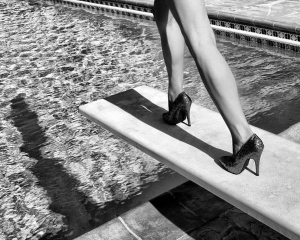 Ruby Heels Art Print featuring the photograph Ruby Heels Bw Palm Springs by William Dey