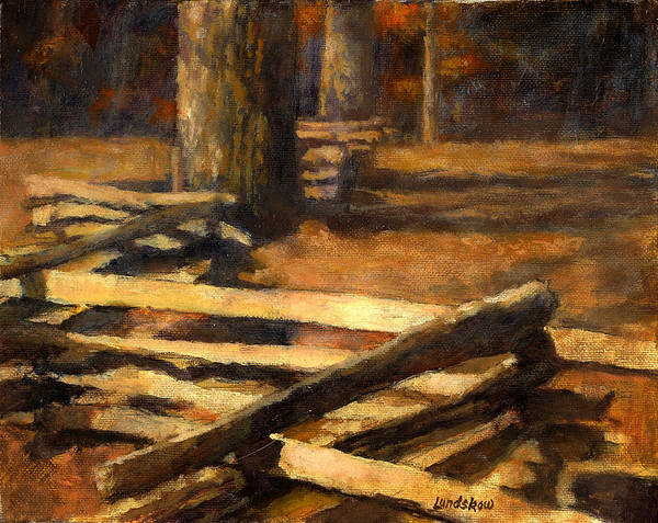 Rustic Log Fence Art Print featuring the painting Rustic Fence by Roger Lundskow