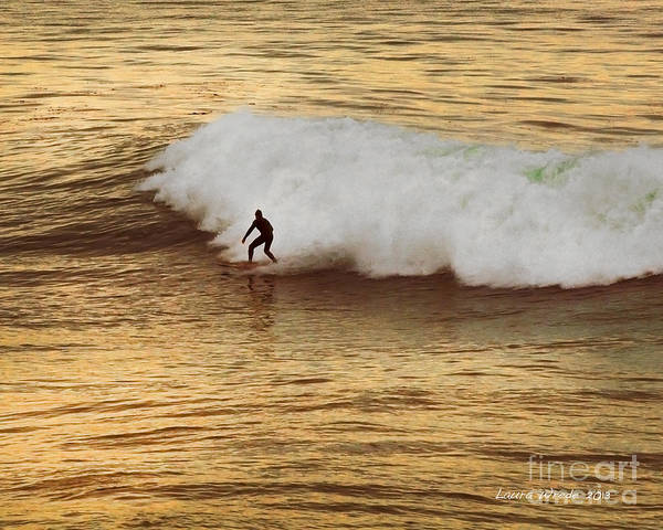 Surfer Art Print featuring the photograph Santa Cruz Surfing At The Golden Hour by Artist and Photographer Laura Wrede