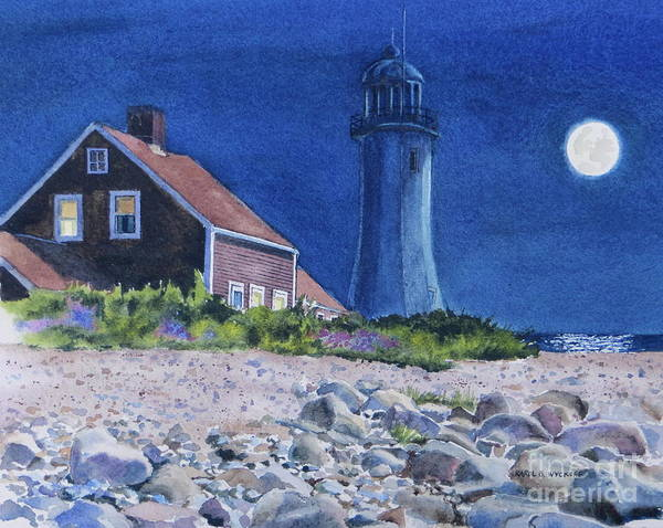 House Art Print featuring the painting Scituate Light By Night by Karol Wyckoff