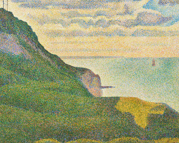 Landscape; Cliffs; Coast; Coastal; View; Pointillist; Pointillism; Sea; English; Channel; France; Seaside Art Print featuring the painting Seascape At Port En Bessin Normandy by Georges Seurat