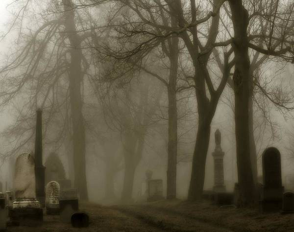 Fog Art Print featuring the photograph A Graveyard Seeped In Fog by Gothicrow Images