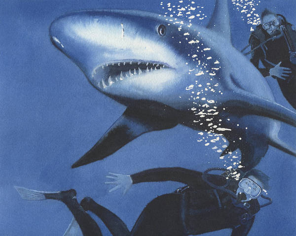 Illustration Art Print featuring the painting Sharkbait by Denny Bond