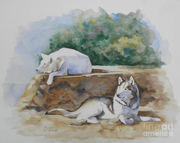 Wolves Art Print featuring the painting Siesta Time by Suzanne Schaefer