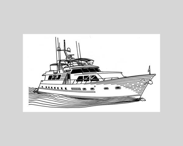 Yacht Portraits Art Print featuring the drawing Sleek Motoryacht by Jack Pumphrey