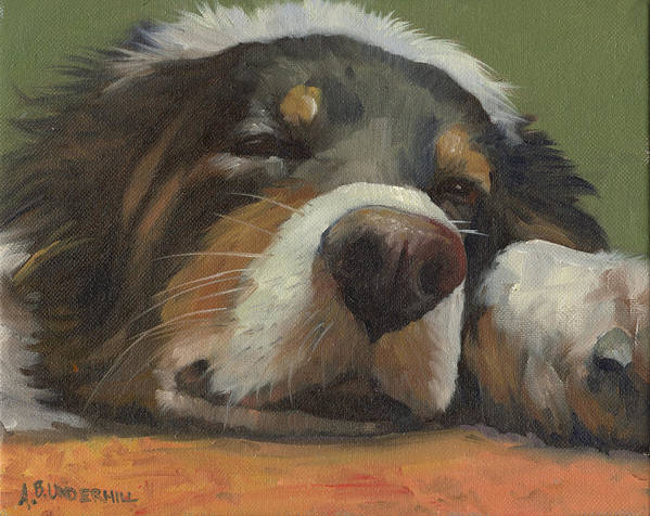 Dog Art Print featuring the painting Snoozing by Alecia Underhill
