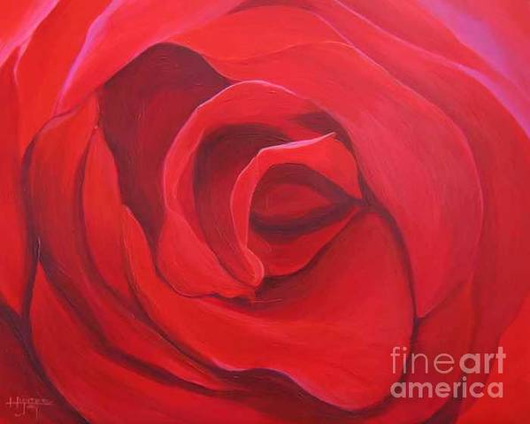 Rose In The Italian Countryside Art Print featuring the painting So Red The Rose by Hunter Jay