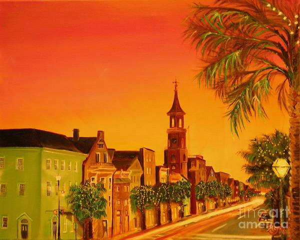 City Art Print featuring the painting Southern Eve by Barbara Hayes