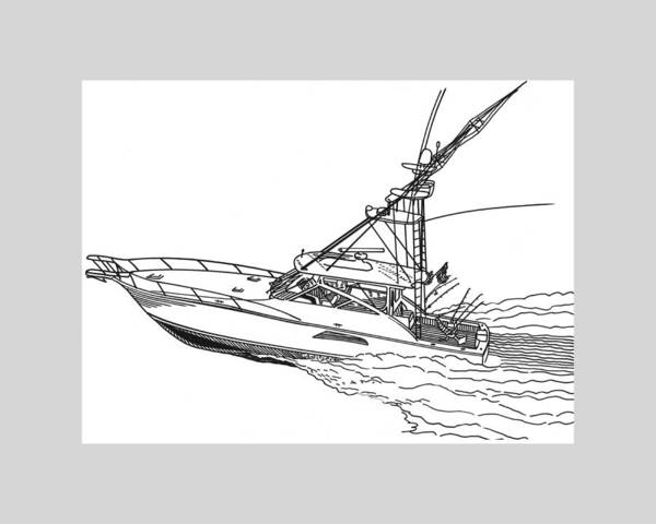 Yacht Portraits Art Print featuring the drawing Sportfishing Yacht by Jack Pumphrey
