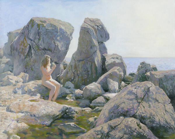 Rocks Art Print featuring the painting Spring At The Rock Shore by Denis Chernov