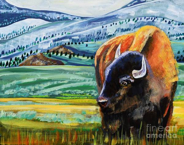Bison Art Print featuring the painting Spring Storm by Harriet Peck Taylor