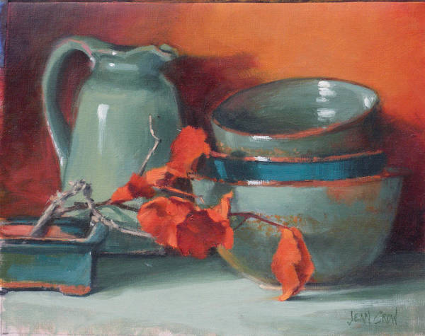Representational Art Print featuring the painting Stacked Bowls #4 by Jean Crow