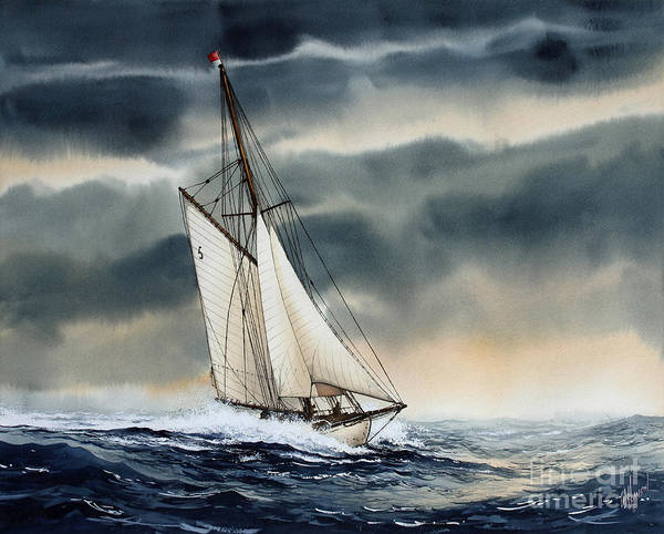 Storm Painting Print featuring the painting Storm Sailing by James Williamson