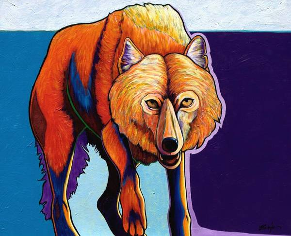 Contemporary Art Print featuring the painting Strictly Business - Arctic Wolf by Joe Triano
