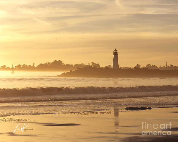 Capitola Art Print featuring the photograph Sunset On The Lighthouse In Santa Cruz Harbor by Artist and Photographer Laura Wrede