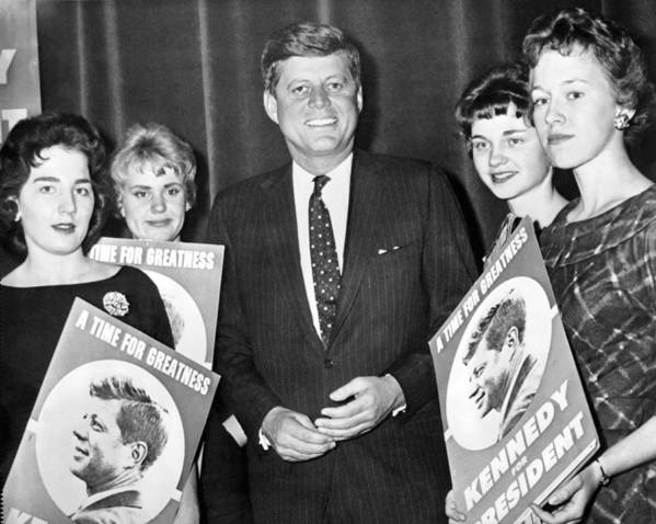 1960 Art Print featuring the photograph Supporters Greet Kennedy by Underwood Archives
