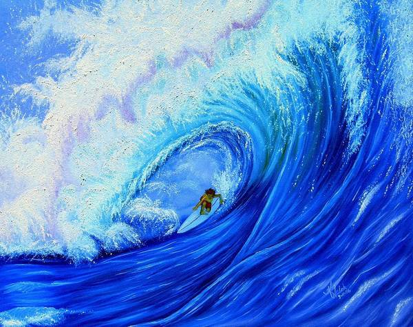 Surf Art Print featuring the painting Surfing The Wild Wave by Kathern Welsh
