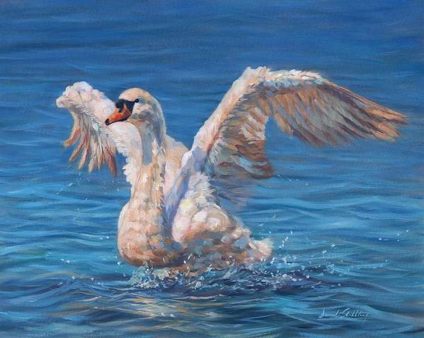 Swan Print featuring the painting Swan by David Stribbling