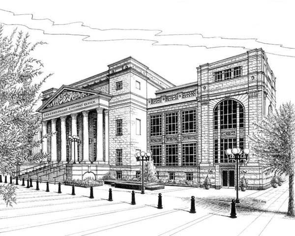 Architecture Art Print featuring the drawing Symphony Center In Nashville Tennessee by Janet King