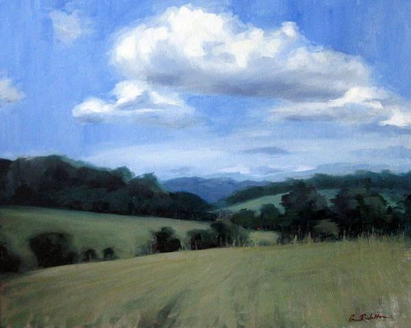 Tennessee Art Print featuring the painting Tennessee's Rolling Hills And Clouds by Erin Rickelton