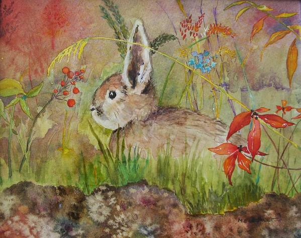 Nature Art Print featuring the painting The Bunny by Mary Ellen Mueller Legault