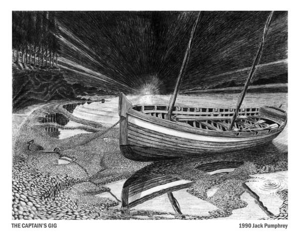 Artwork Of Yachts Art Print featuring the drawing Captain Vancouvers Gig by Jack Pumphrey