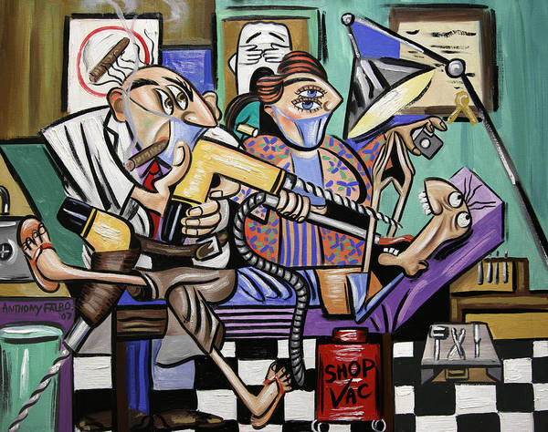 The Dentist Is In Root Canal Art Print featuring the painting The Dentist Is In Root Canal by Anthony Falbo