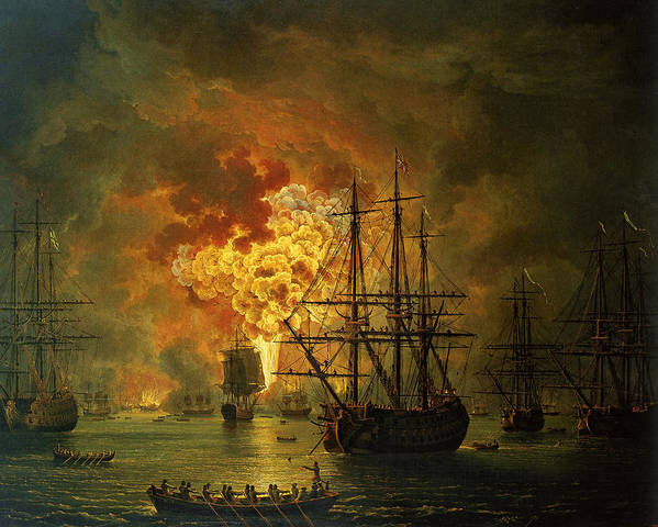 Sea Art Print featuring the painting The Destruction Of The Turkish Fleet At The Bay Of Chesma by Jacob Philippe Hackert