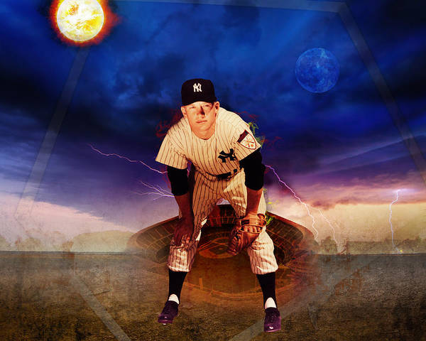 Mickey Mantle Art Print featuring the photograph The Duality Of Mickey Mantle American Hero by Retro Images Archive