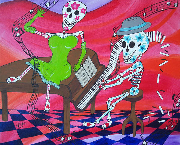 Piano Art Print featuring the painting The Pianist Day Of The Dead by Julie Ellison