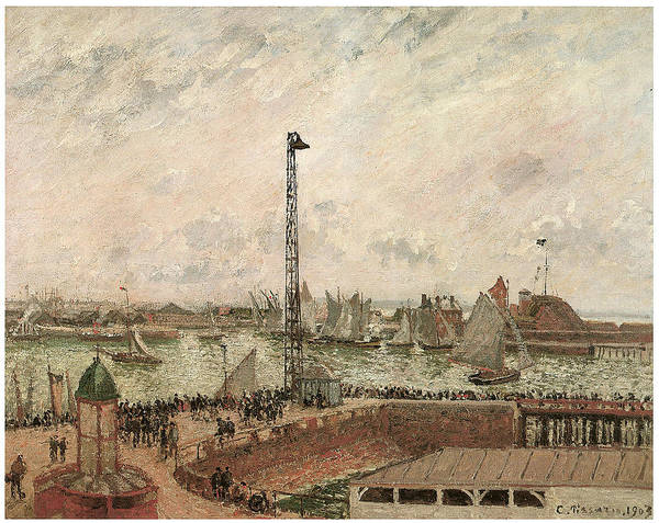 Camille Pissarro Print featuring the painting The Pilot's Jetty Le Harve Mornig Grey Weather Misty by Camille Pissarro