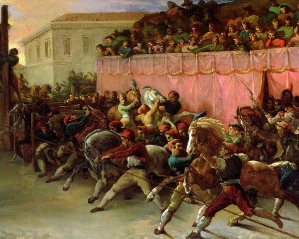 The Riderless Racers At Rome Art Print featuring the painting The Riderless Racers At Rome by Theodore Gericault