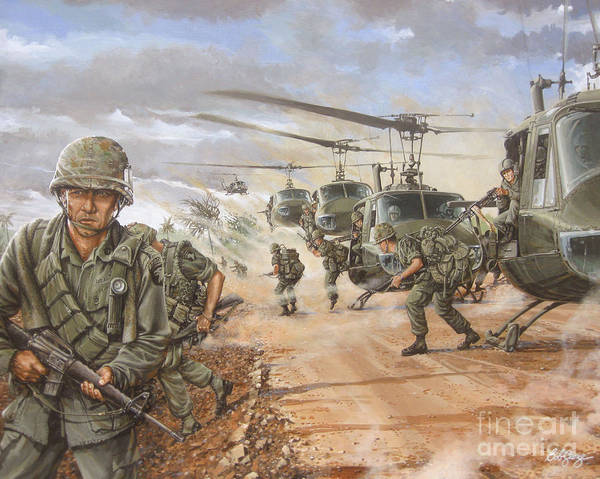 Vietnam War Art Print featuring the painting The Screaming Eagles In Vietnam by Bob George