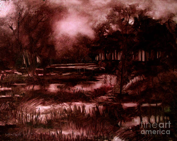 Landscape Art Print featuring the painting The Spring Eel Flooding Or Red And Green Don't Make Brown by Charlie Spear