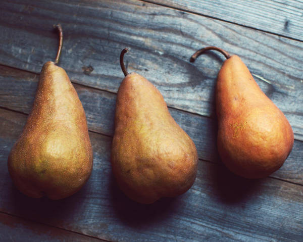 Food Photograph Art Print featuring the photograph Three Gold Pears by Lupen Grainne