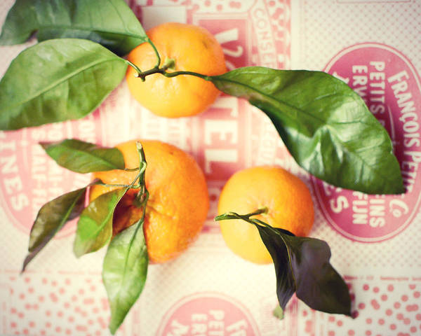 Tangerines Art Print featuring the photograph Three Tangerines by Lupen Grainne