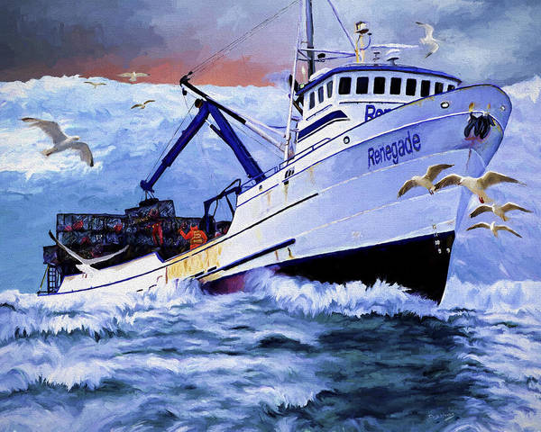 Alaskan King Crabber Art Print featuring the painting Time To Go Home by David Wagner
