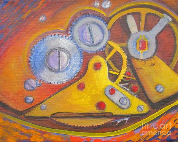 Watch Mechanism Art Print featuring the painting Time Unfolding Study by Vivian Haberfeld