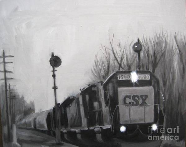 Train Art Print featuring the painting Torrit Train by Katrina West