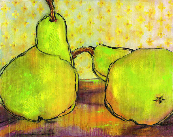 Pear Art Print featuring the painting Touching Green Pears Art by Blenda Studio
