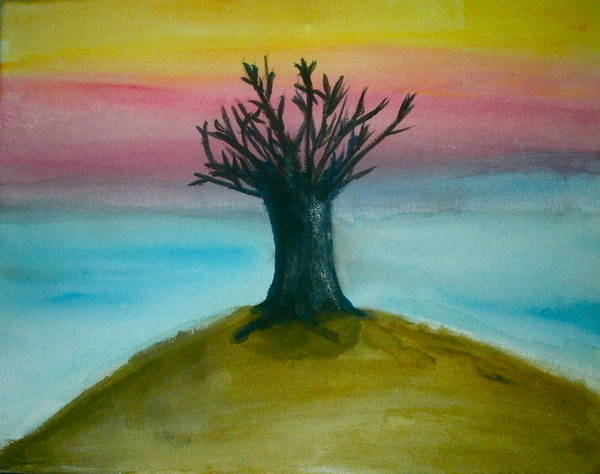 Tree Art Print featuring the painting Tree Sunset by Lee Farley