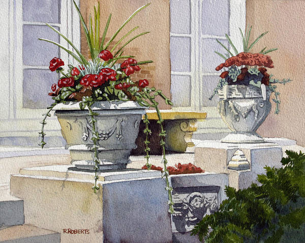Trinity Church Art Print featuring the painting Trinity Geraniums by Robin Roberts