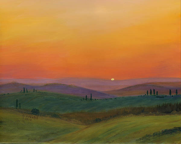Cecilia Brendel Tuscany Sunset Oil Painting Italian Art Print featuring the painting Tuscan Twilight 1 by Cecilia Brendel