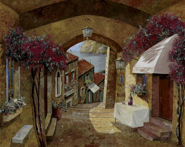Streetscape Art Print featuring the painting Un Bicchiere Sotto Il Lampione by Guido Borelli