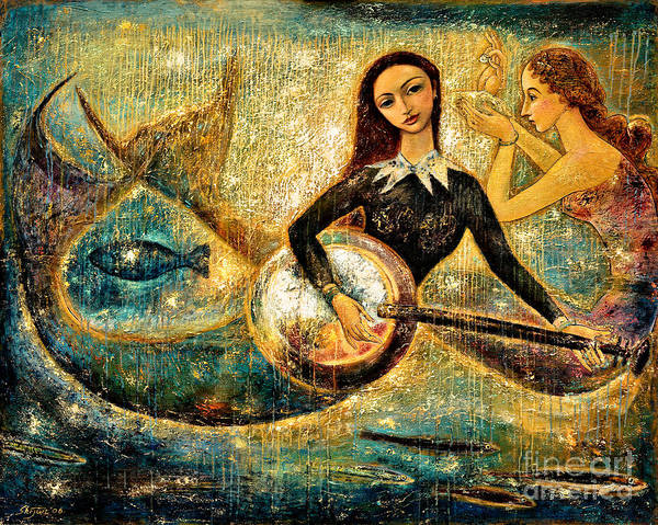 Mermaids Art Print featuring the painting Undersea by Shijun Munns