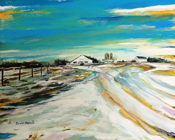 Acylic Art Print featuring the painting Unexpected Dusting Sutton Ma by Scott Nelson
