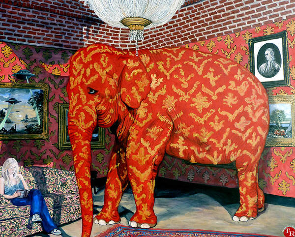 Banksy's Elephant Art Print featuring the painting Untitled by Tom Roderick