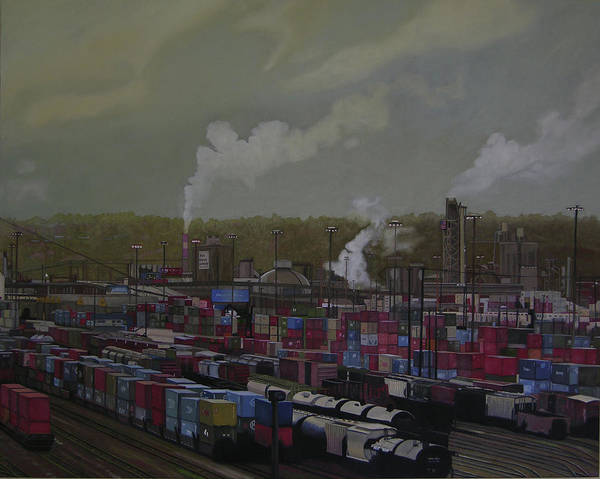 Industrial Landscape Art Print featuring the painting View From Viaduct by Thu Nguyen